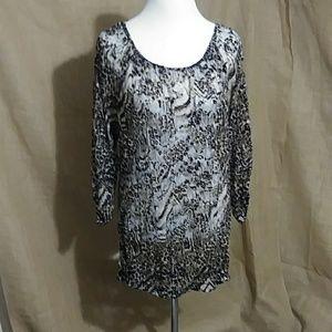 EUC Long Lace Leopard Dress Shirt Brown & Tan XXL